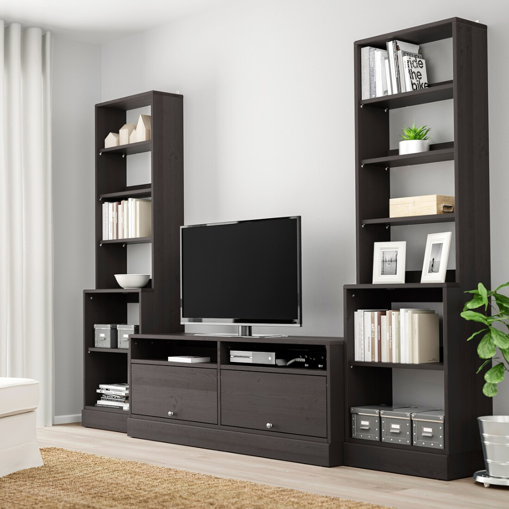Havsta Combinaison Meuble Tv Brun Fonce Ikea In 2020 Tv Storage Family Room Design Ikea