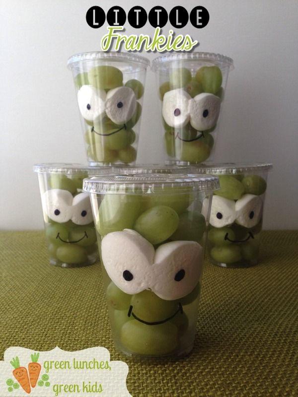Grape  Marshmallow Monster Snacks   Halloween Classroom Party - kid halloween party ideas