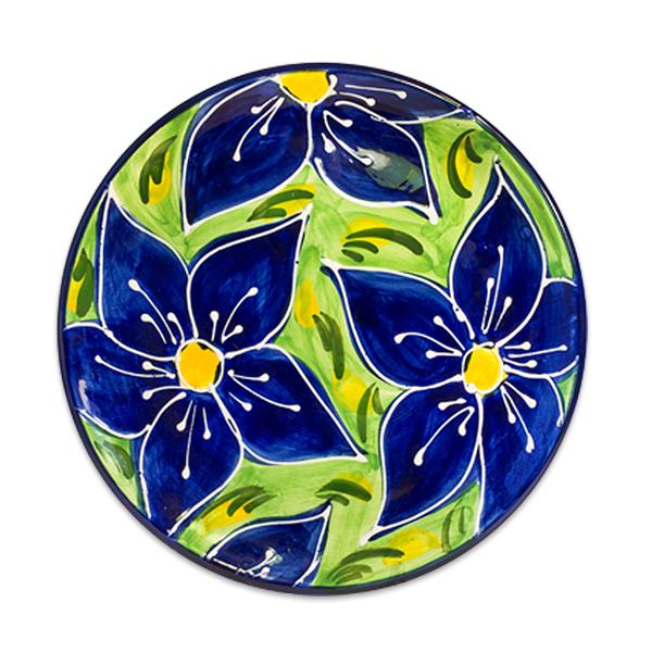 Spanish Ceramic Plate Blue Flowers Design