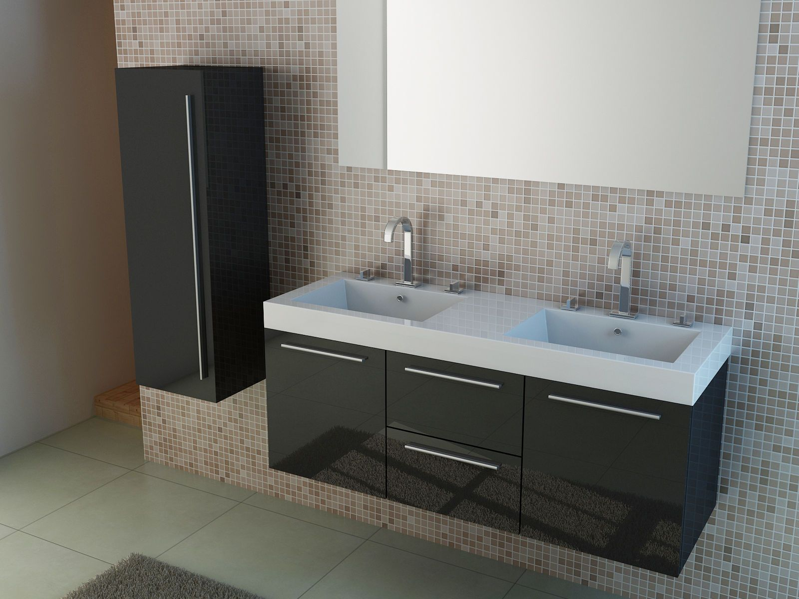 140 Cm Modern Double Vanity Unit Higglos White Or Black Twin Basin Ebay For More