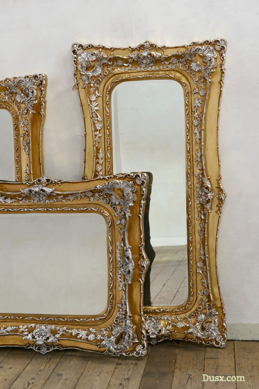 963adcaf47bfd Rosetti Baroque Gold and Silver Gilt Leaf Bevelled Mirror - Larger   Floor  Standing Mirrors over 150cm - Type of Mirror - Mirrors Dusx - French Mirrors