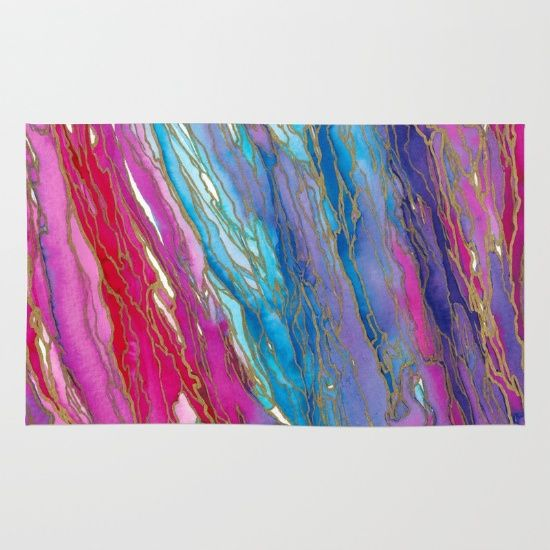 AGATE MAGIC PinkAqua Red Lavender, Marble Geode Natural Stone Inspired Watercolor Abstract Painting Floor Decor Area Rug by Ebi Emporium on Society 6 #artrug #rug #arearug #decor #floor #decoration #throwrug #mat #floormat #marble #colorful #abstract #girly #dorm