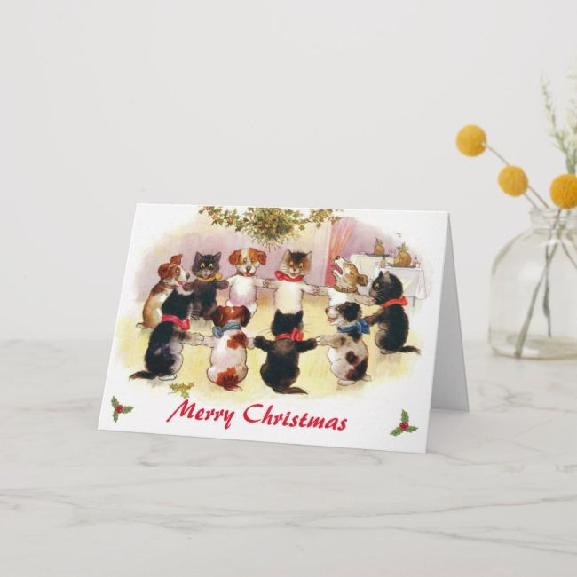 Funny Vintage Merry Christmas Cats and Dogs Holiday Card Affiliate