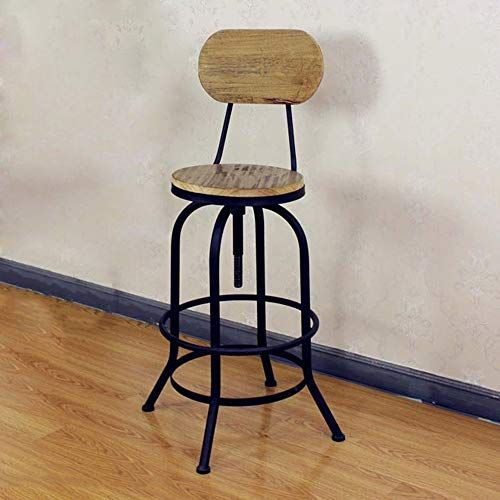 Cool Bar Stool Wyzqq Vintage Metal Frame Wood Top Adjustable Pabps2019 Chair Design Images Pabps2019Com