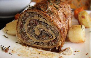Vegan Seitan Turkey Roast With Wild Rice Stuffing Vegan Thanksgiving Seitan Vegan Christmas Recipes