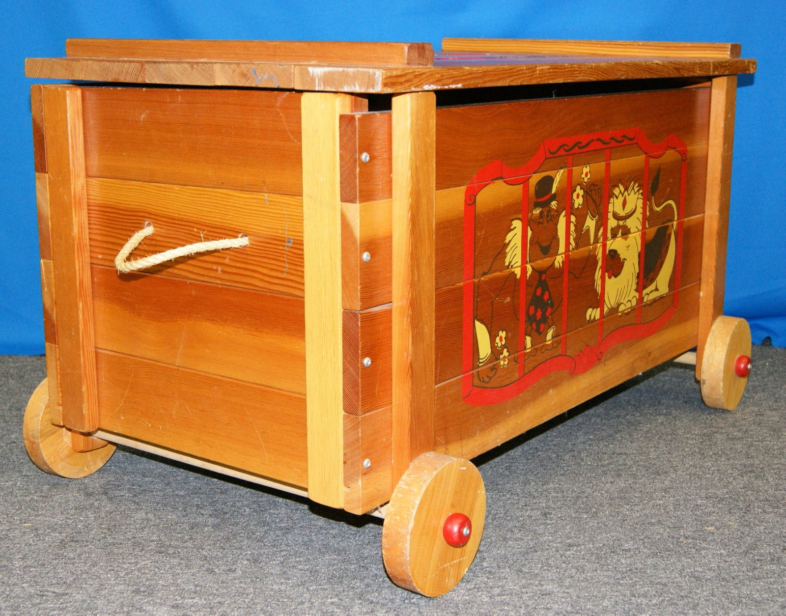 Vintage 1960s Wooden Circus Wagon Toy Chest Toy Chest Wood Toy Chest Wood Toys
