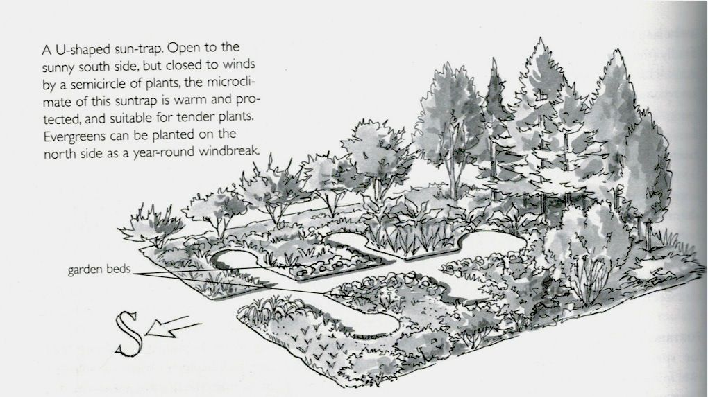"South facing, U-shaped sun trap creates a warm microclimate. From the book ""Gaia's Garden"" by Toby Hemenway (something to be looked into)"
