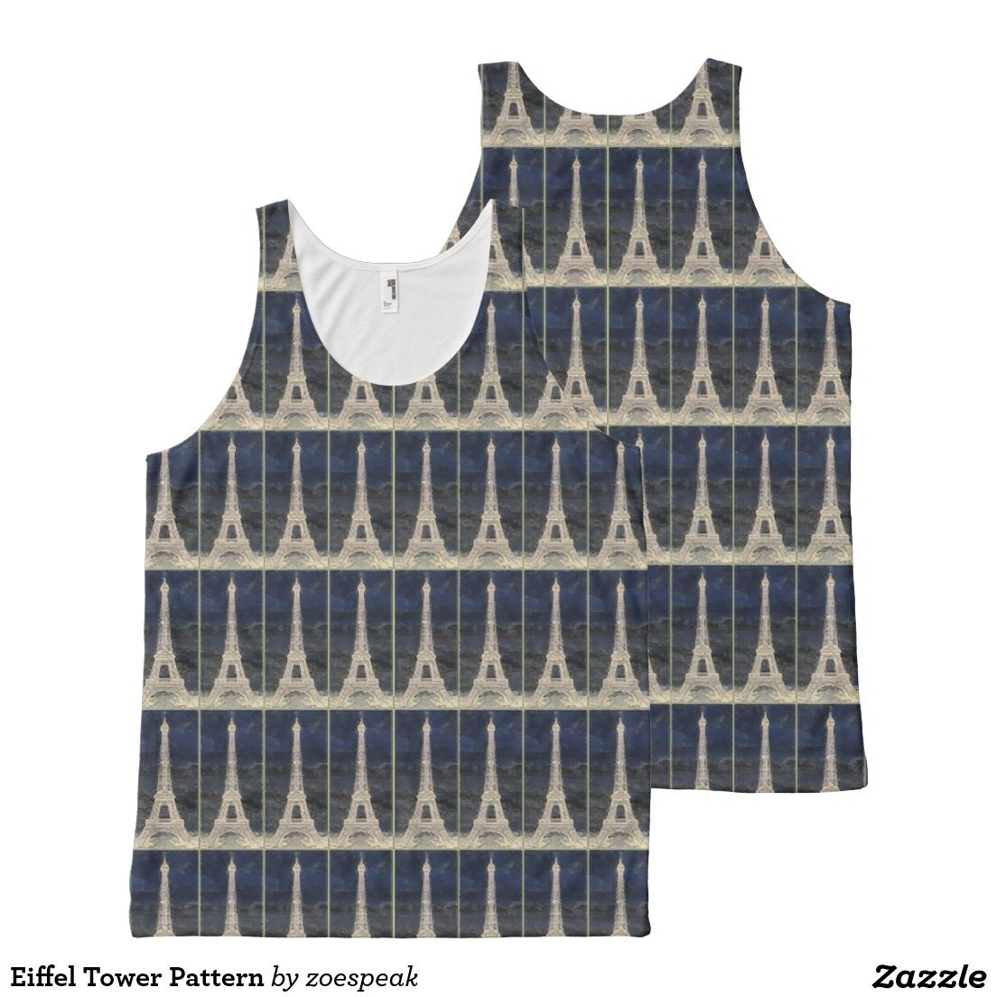 Eiffel Tower Pattern, All-Over Printed Unisex Tank Top from ZoeSPEAK.