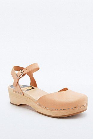 Swedish Hasbeens Covered Low Wedge Shoes in Tan - Urban Outfitters
