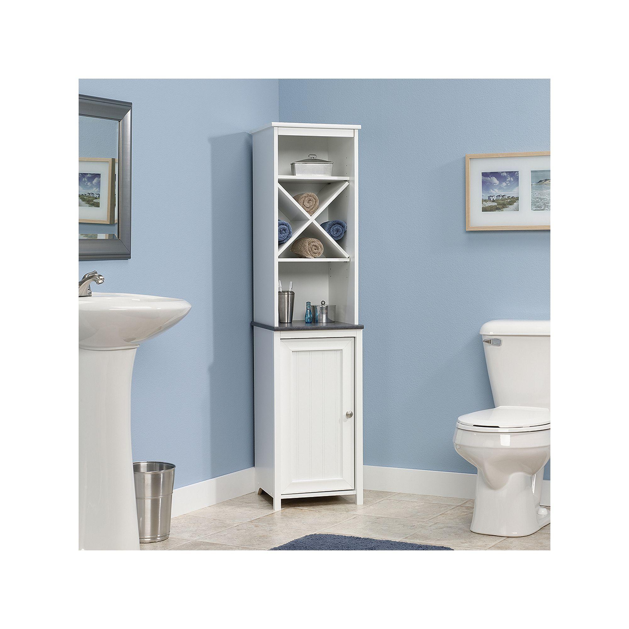 Sauder Caraway Linen Tower In 2020 Bathroom Floor Cabinets Linen Cabinet Bath Cabinets