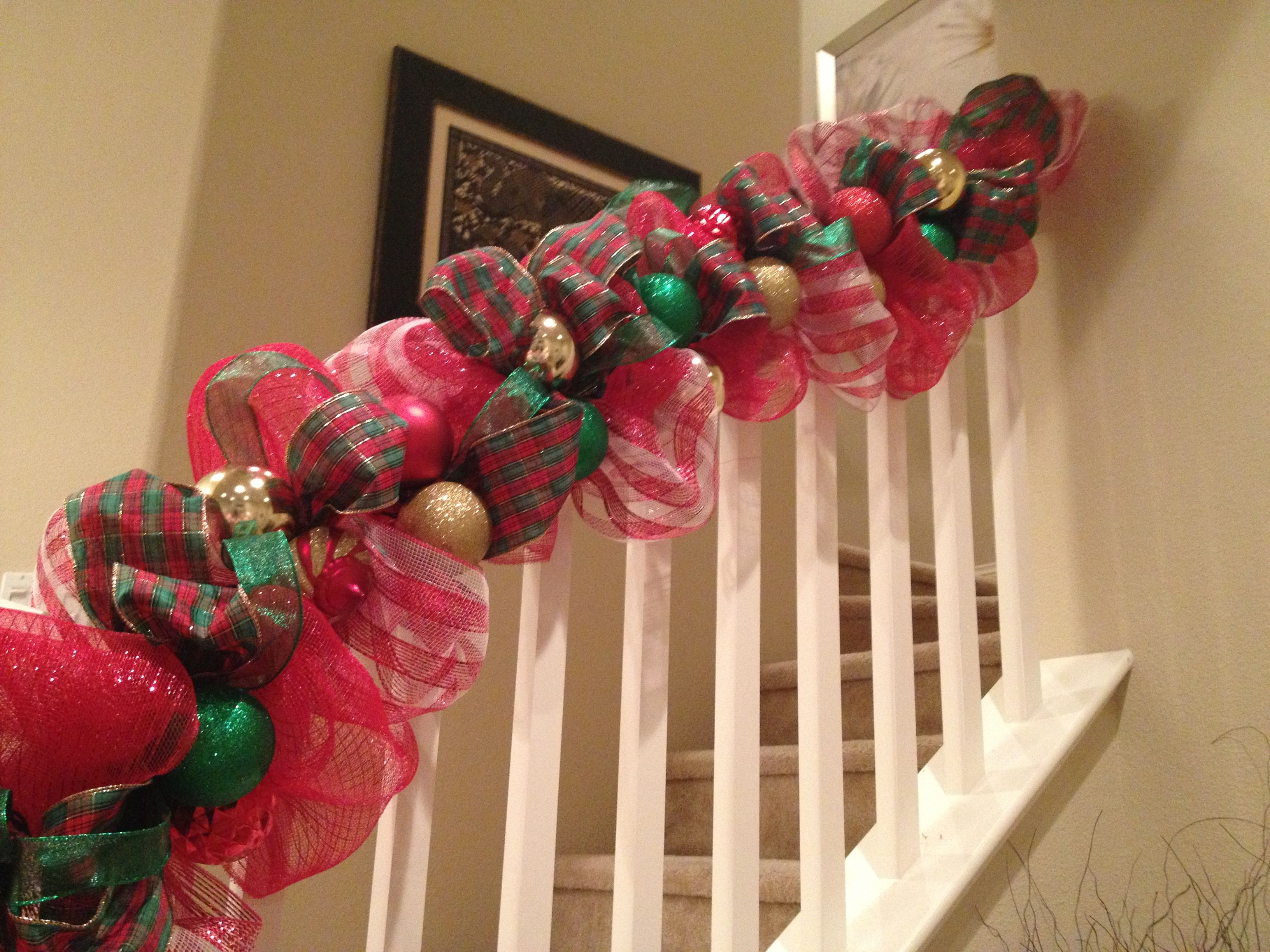 deco mesh banister deco mesh banister decorating stairs stair decor banister christmas - How To Decorate A Staircase For Christmas With Deco Mesh