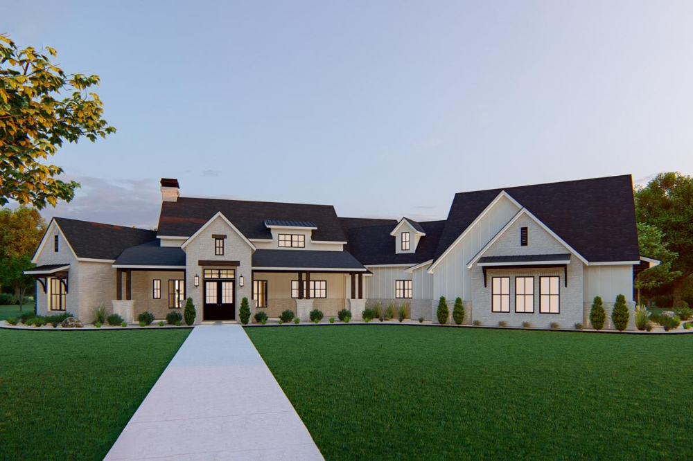 Exclusive 4 Bed Home Plan with Bonus 5th Bedroom above Angled Garage