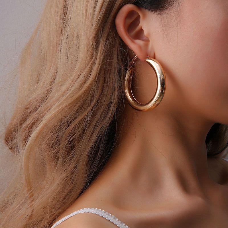 Fashion Boho Big Round Star Silver Gold Color Geometric Stud Earrings Silver