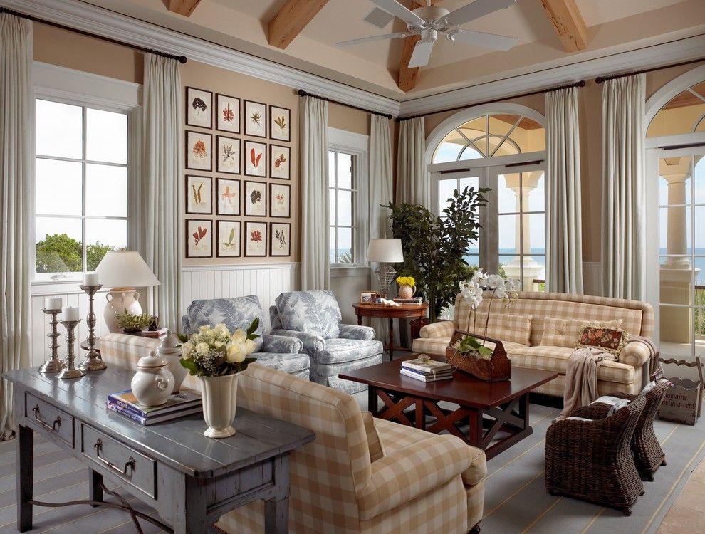 Good Cottage Style Family Room Part - 13: Amazing Sofa Table Decorating Ideas For Fine Family Room Beach Design Ideas  With Area Rug Artwork Beadboard Buffalo Plaid Coastal Console Table Cottage  ...