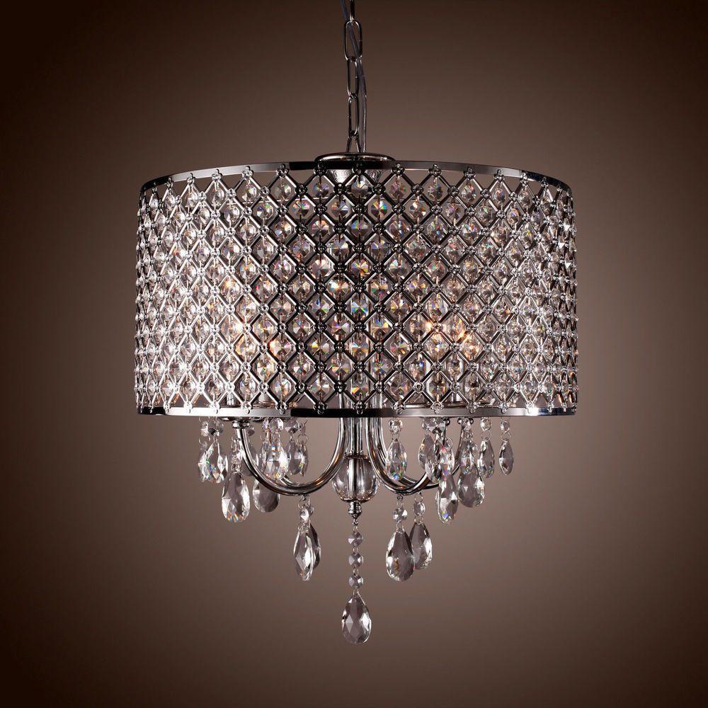 Drum Crystal chandelier Modern 4 Lights Shade pendant lamp Living ...