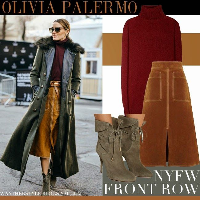 Olivia Palermo in camel suede skirt 0fa7a0cfe5d