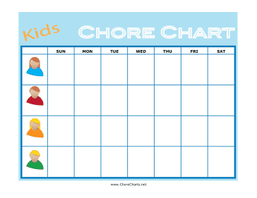 This children s chore chart has room for multiple children to keep