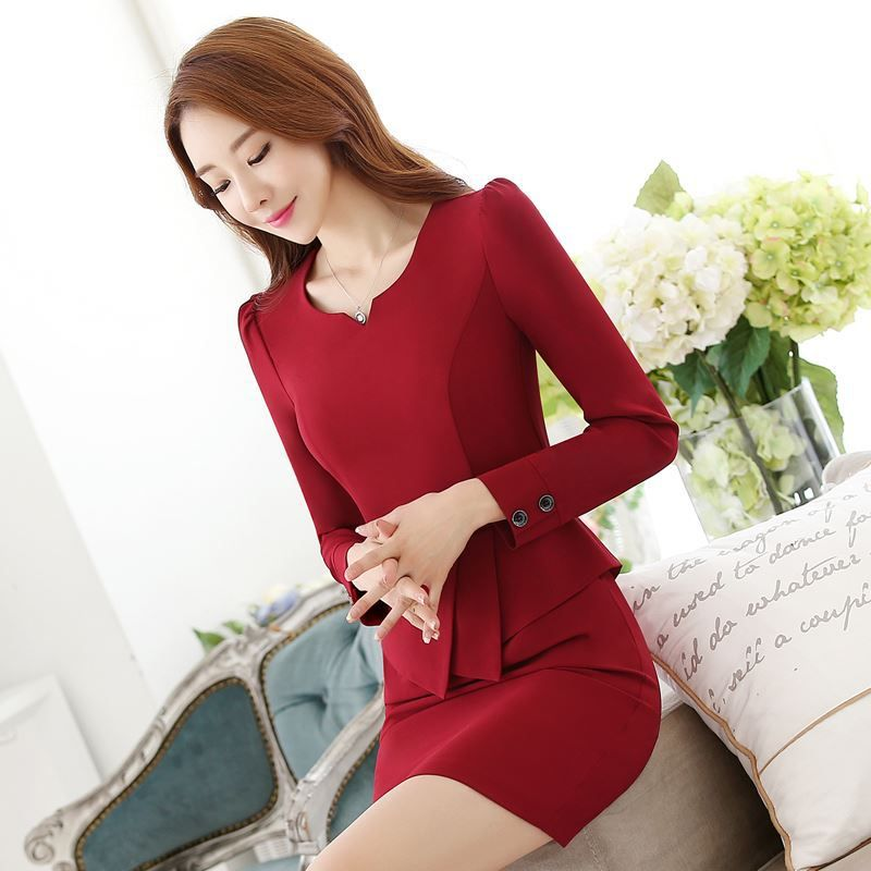 3f2e97c32ec Chinese Summer Style Without Lining  Sweetheart Neckline Women Slim Office  Lady Red Half Sleeve  Dress  Career  Apparel  WorkWear
