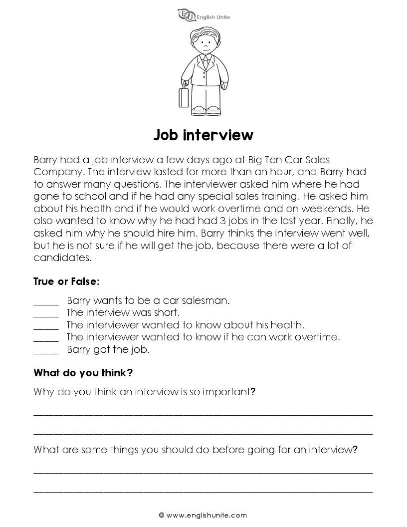 Short Story Job Interview English Unite Short Reading Passage Teaching Reading Comprehension Short Stories [ 1056 x 816 Pixel ]