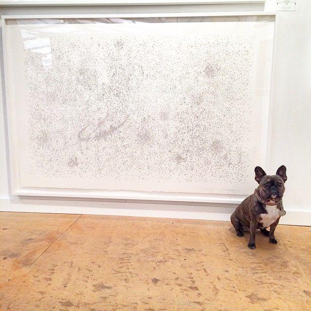 Sparkles!! John Noestheden at Jayne H Baum at Miami Project. #picklebeholding #pickledog #frenchie #bulldog #artdog #dogsofinstagram #artselfie #johnnoesthden #jaynehbaum #miamiproject2014...