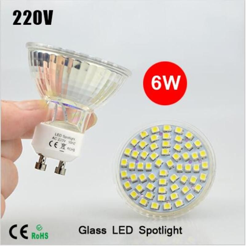 Best Selling Full Watt 6w Gu10 Led Lamp Ac 220v Heat Resistant Glass Body 3528 Smd 60leds 550 600lm Led Spotlight Bulbs Light Sylvania Led Bulbs Led B