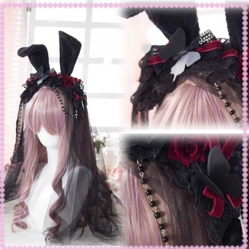 Gothic Lolita Vintage Rabbit Ear KC Rose Hair Band Lace Veil Cosplay Headband