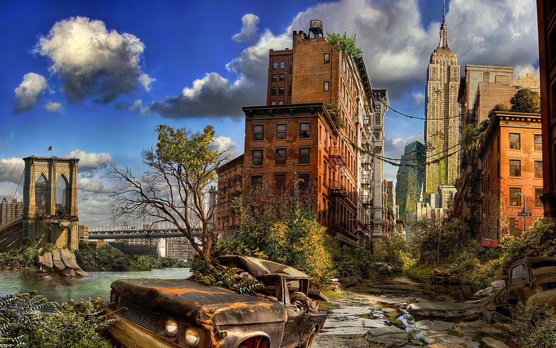 Really Nice Photochop Of A Post Apocalyptic New York I Like The Use Of Hdr Techniques To Give It A Post Apocalyptic City Post Apocalyptic Art Post Apocalyptic