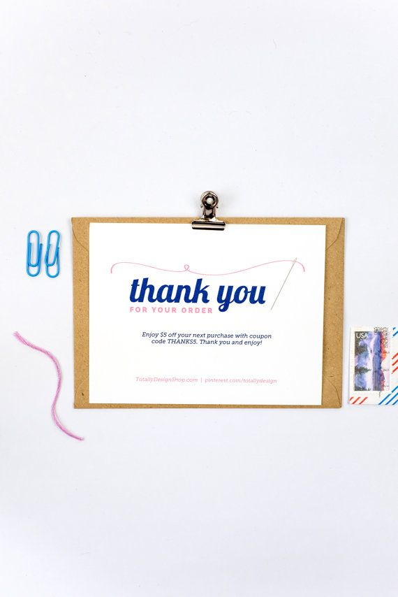 Business Thank You Card Template Thank You For Your Order Printable Instant Download  Elegantly Sewn .