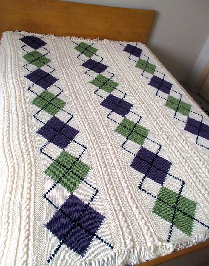 Free Knitting Pattern For Argyle Cable Afghan Knit In Panels And