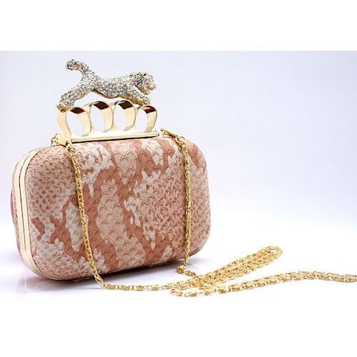 Champagne Faux Snakeskin Leather Party Ball Evening Clutch Bag Purse  SKU-1110352