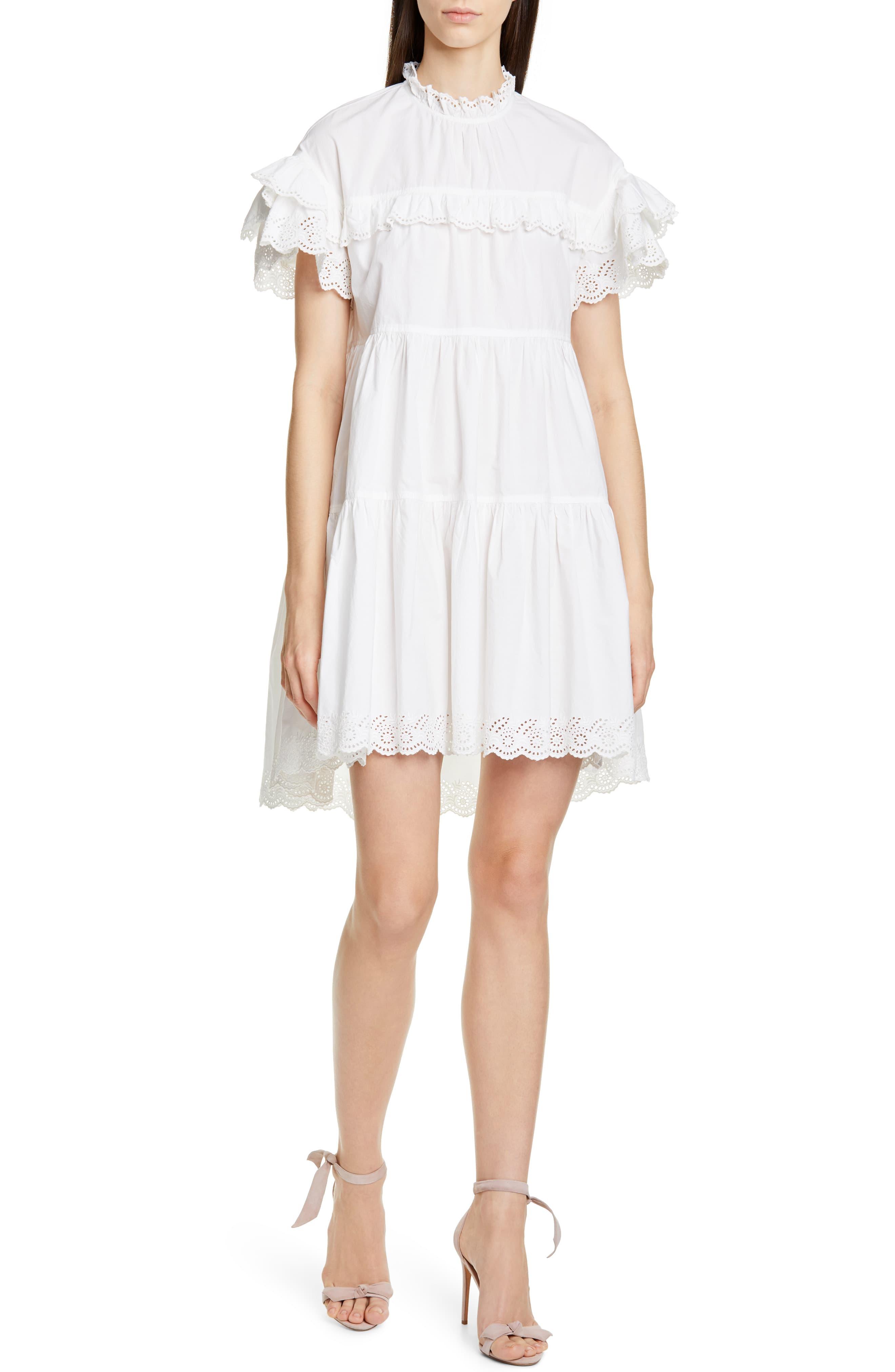Ulla Johnson Leonie Eyelet Trim Trapeze Dress Nordstrom Vestiti [ 4048 x 2640 Pixel ]
