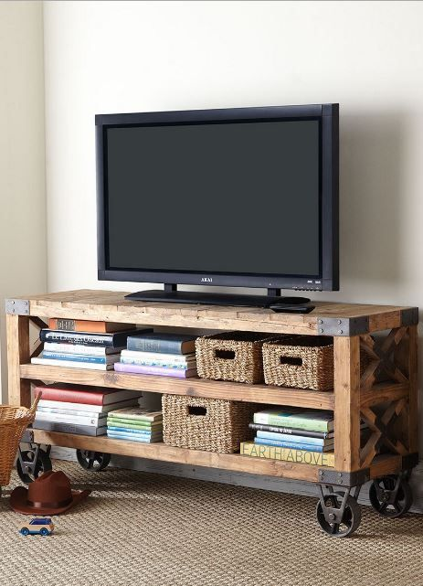33 Diy Tv Stands You Can Build Easily In A Weekend Home And Gardening Ideas Telas Para Muebles Mueble Tv Con Ruedas Muebles Para Television