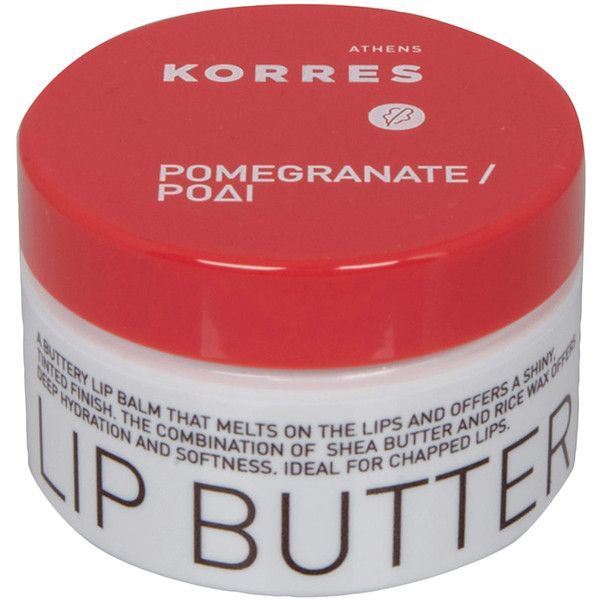 Korres Pomegranate Lip Butter (€11) ❤ liked on Polyvore featuring beauty products, skincare, lip care, lip treatments, beauty, makeup, lip, cosmetics, products and korres