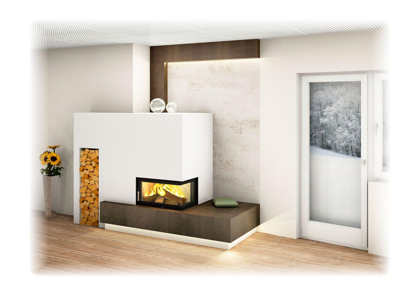 Moderner Kachelofen Mit Eckfenster, Indirekter Beleuchtung