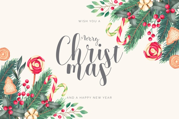 Download Watercolor Christmas Background With Candies And Leaves For Free Christmas Watercolor Christmas Card Background Vector Free