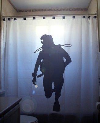 Scuba Diver Shower Curtain Bathroom Decor kids bath deep sea diving ...