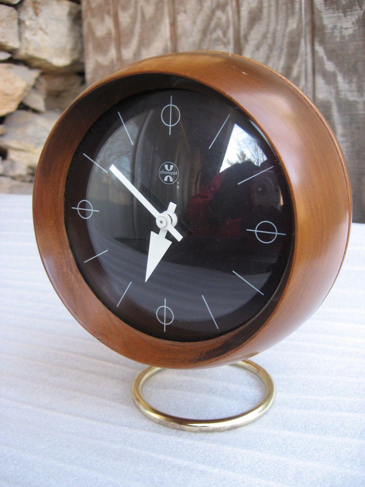 Vintage Modern George Nelson Howard Miller Walnut Brass Chronopak ORB Desk  Clock | EBay
