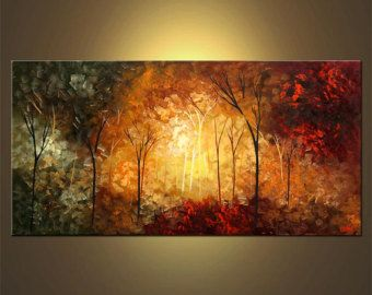 moderne spachtel malerei abstrakte landschaft bl hende b ume gem lde original acryl auf leinwand. Black Bedroom Furniture Sets. Home Design Ideas