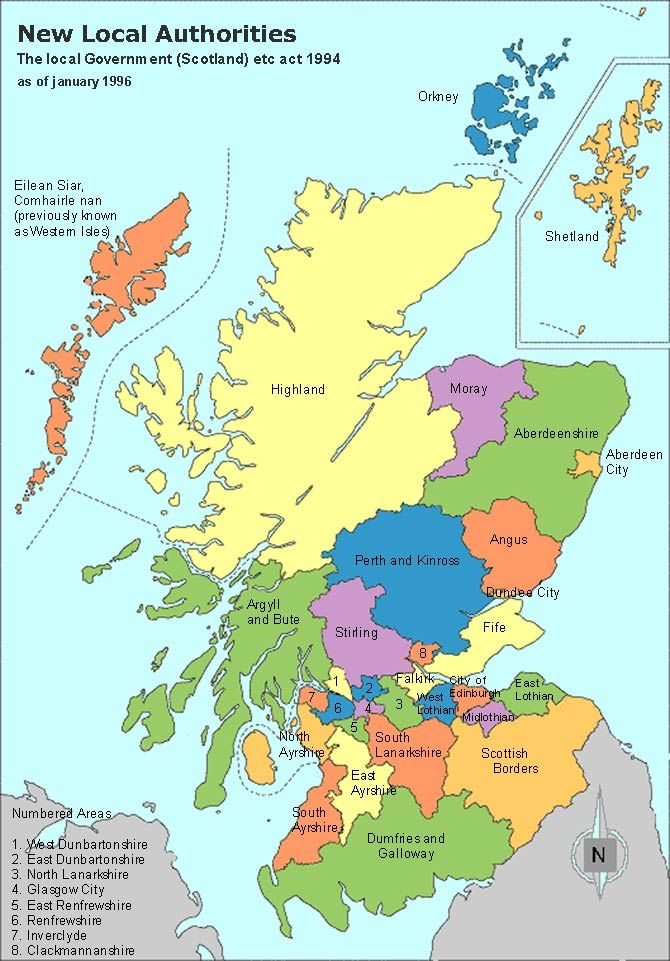Scotland Clan Map Authorities Map And Regions And Towns