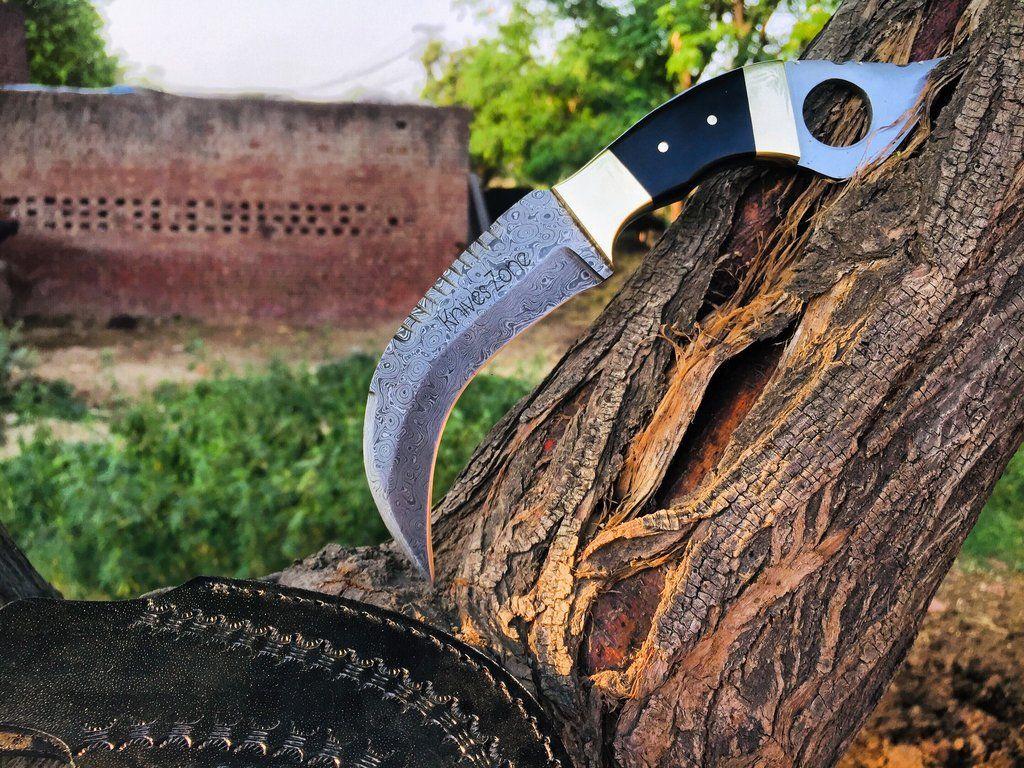 Knives Zone Custom Handmade Damascus Steel Karambit Knife With Black Leather Sheath Damascus Steel Knives Swords Best Pocket Knife