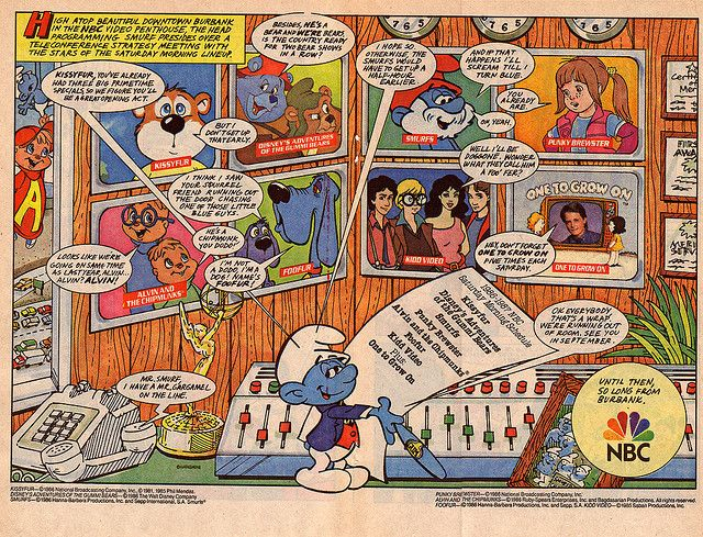 saturday morning cartoon ad nbc 1986 by smurfwreck77 via flickr classic advertising. Black Bedroom Furniture Sets. Home Design Ideas