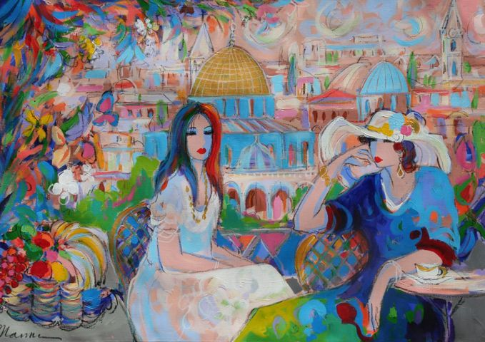 Cafe Du Ville 1995 by Isaac Maimon - Acrylic on Canvas