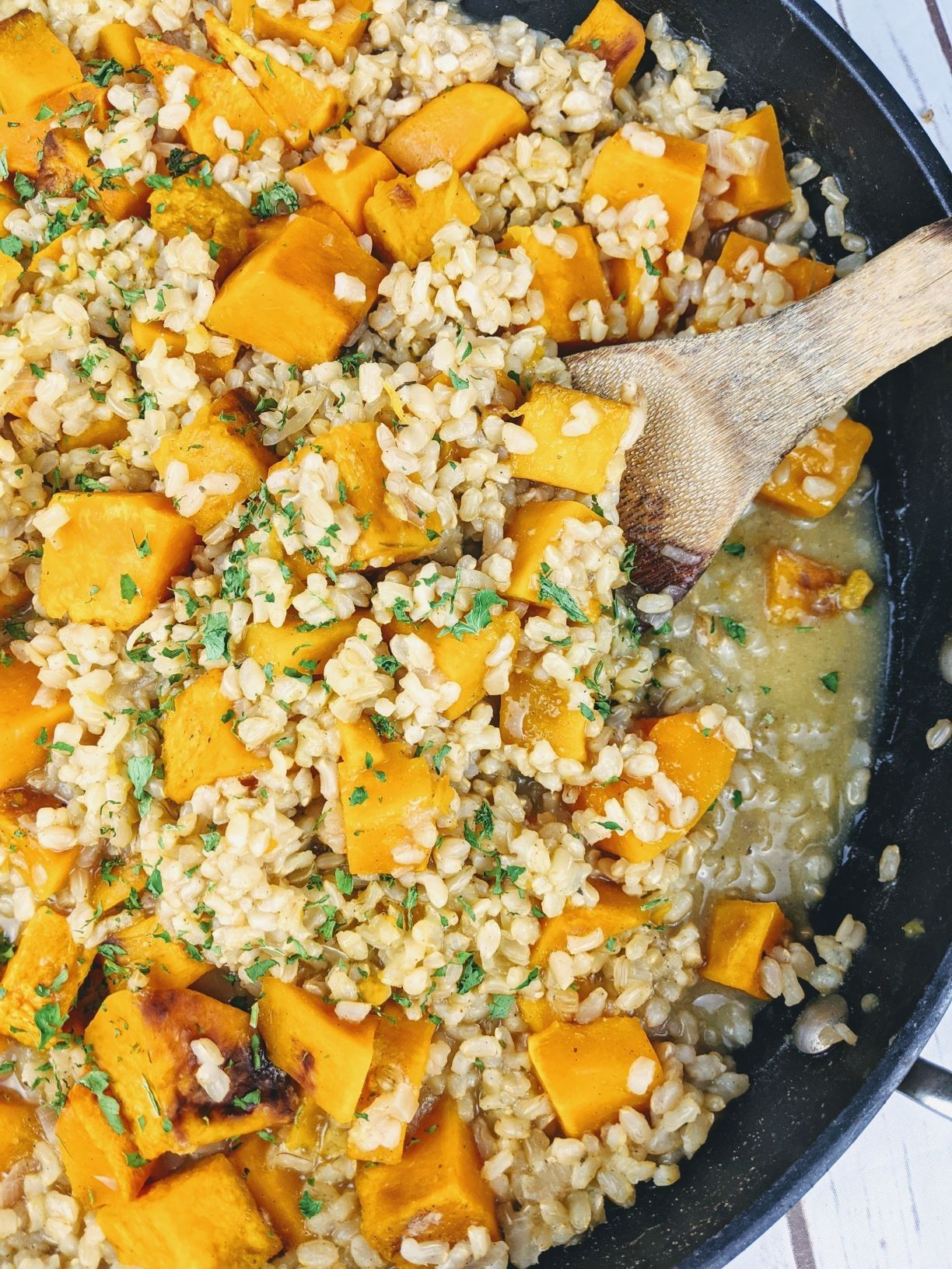 The Most Satisfying Vegan Butternut Squash Brown Rice Risotto Recipe In 2020 Vegan Recipes Healthy Risotto Whole Food Recipes