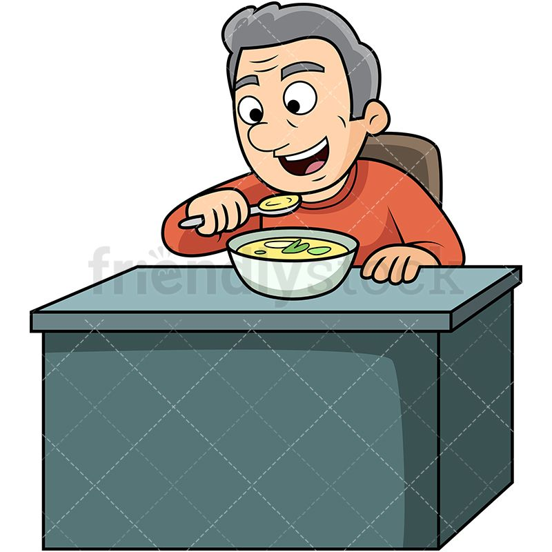 Old Man Eating Soup Cartoon Vector Clipart Food Drink Clipart