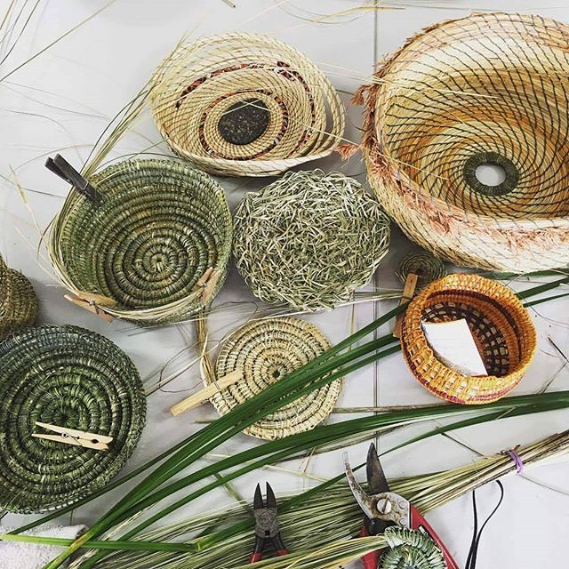 Baskets Made With Australian Native Plants Using The Stitch And