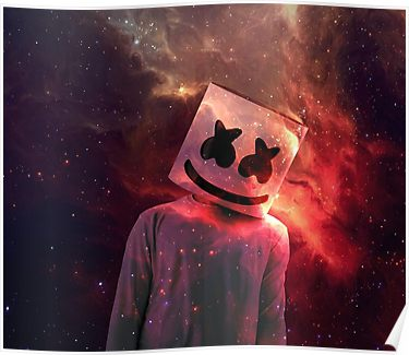 Marshmello red galaxy poster products in 2019 poster 4k wallpaper for mobile screen wallpaper - Alan walker logo galaxy ...