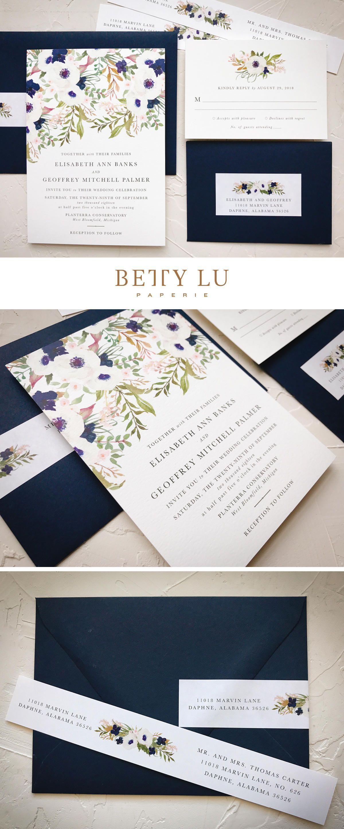 Navy Floral Wedding Invitations Garden Boho Elegant Rustic Fall Bohowedding Weddingideas Weddinginvitation: Navy Garden Wedding Invitations At Reisefeber.org