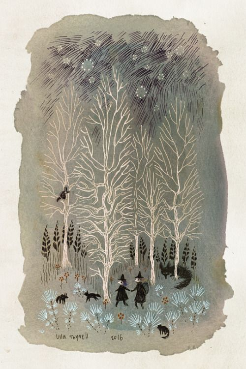 Ulla Thynell illustration - sweet little witches holding hands in the forrest with wolf and fox and other woodland creatures