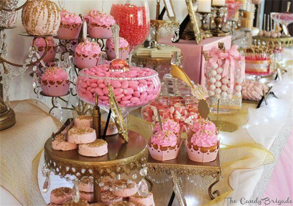 Pink Candy Buffet Princess Party Royal Candy Table Baby Shower The Candy Br Parisian Birthday Party French Themed Birthday Party French Themed Birthday