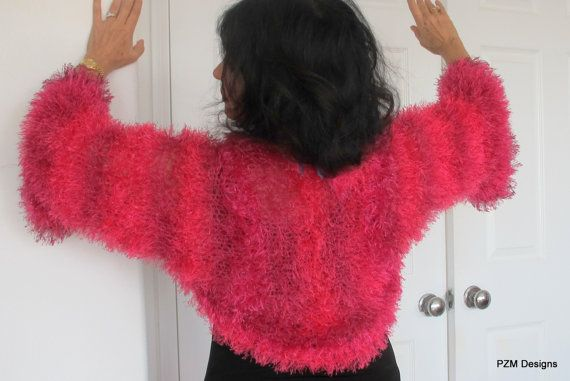 Hot pink shrug, knit fur jacket, Hollywood glamour summer outerwear, small